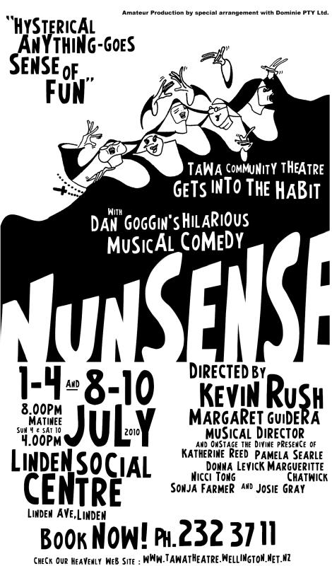A poster for Nunsense - Tawa Community Theatre