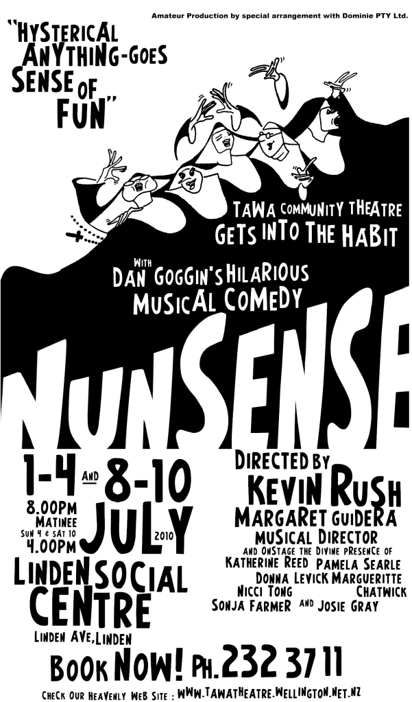 A poster for Nunsense - Tawa Community Theatre